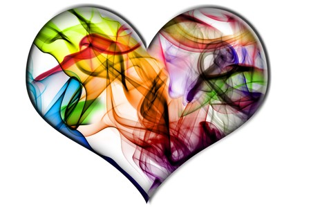 fuming: a heart with colores smoke texture isolated on a white background
