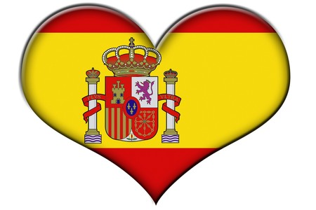 spanish flag: a heart with the flag of Spain isolated on a white background Stock Photo