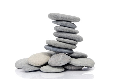 a pile of zen stones on a white background Stock Photo - 7330516