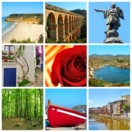 colom: a collage of nine pictures of different views and symbols of Catalonia, Spain