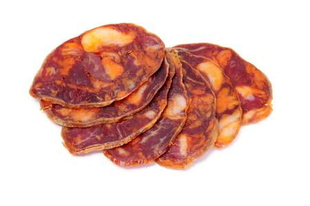 red spanish chorizo slices on a white background Stock Photo - 7349632