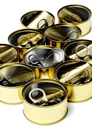 a pile of cans isolated on a white background photo