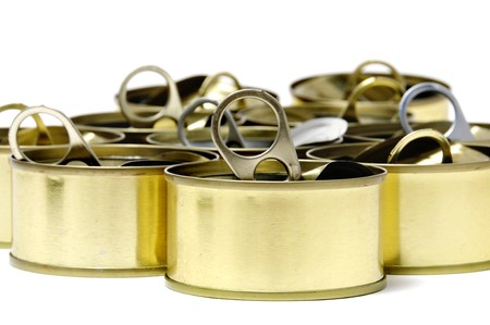 pulltab: a pile of cans isolated on a white background