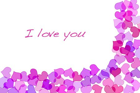 lovingly: Sentence I love you and hearts drawn on a white background