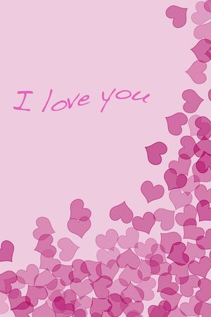 Sentence I love you and hearts drawn on a pink background photo