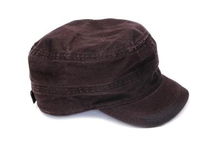insolaci�n: una gorra negra aislada en un fondo blanco  Foto de archivo