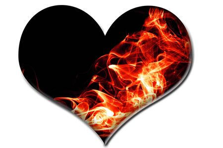 a heart with red fire flames on a black background photo