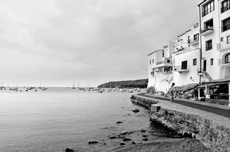 A view of Cadaques coast, Costa Brava, Spain, in black and white photo