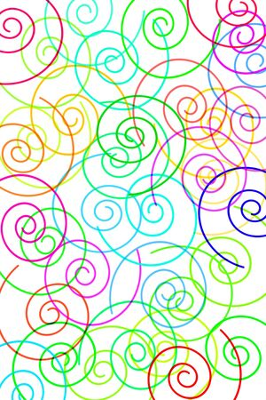 spirals: a background of motifs of different colors and sizes