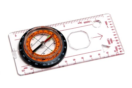 a ruler with compass isolated on a white background photo