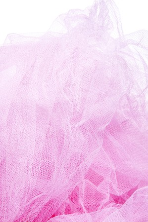tulle: closeup of a pink tulle isolated on a white background Stock Photo