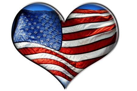red america: a heart with the flag of United States isolated on a white background