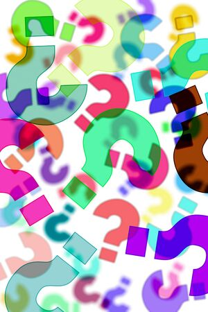 interrogatory: question marks of different colors drawn on a white background Stock Photo