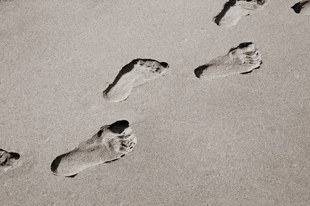 sandy brown: Footprints in su una spiaggia di sabbia
