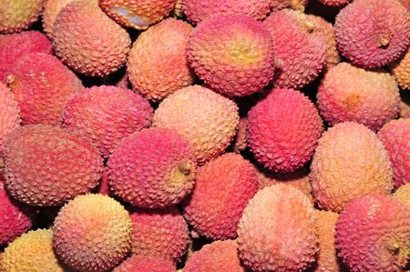 lychees: some lychees ready to sell in a market