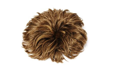 wig: a brown short heart wig isolated on a white background
