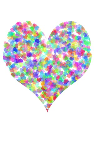 hearts of different colors drawn on a white background forming a heart photo