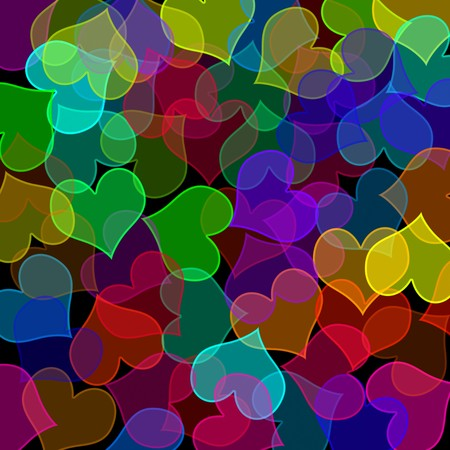 background of many hearts of different colors and sizes photo