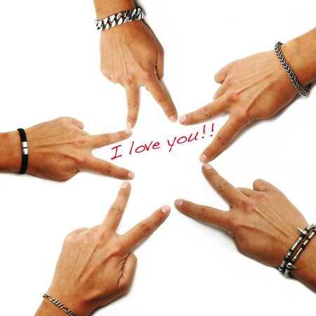 i love you written on a white background with hands drawing a star  Stock Photo - 7472800