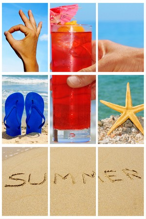 summertime: a collage of nine pictures of many beach items and scenes