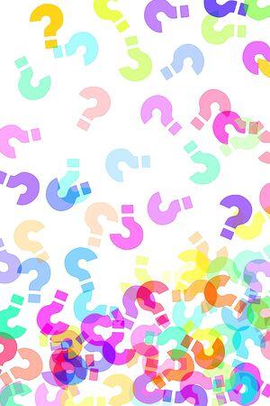 interrogativa: signos de interrogaci�n de diferentes colores dibujados sobre un fondo blanco  Foto de archivo