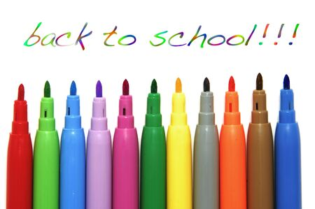 back to school written with marker pens on a white background Stock Photo - 7587232