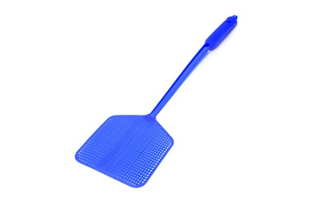 a blue flyswatter isolated on a white background Stock Photo - 7592890