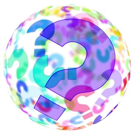 kwis: een bol met vraag tekens van verschillende kleuren op een witte achtergrond