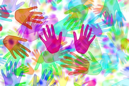 hands of different colors drawn on a white background Stock Photo - 7600828