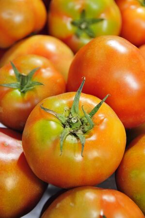 closeup of a pile of tomatoes in a marketplace Stock Photo - 7614154