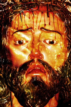 the face of a vintage figure of Jesus Christ Stock Photo - 7623060