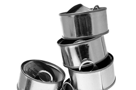 pulltab: some empty cans isolated on a white background