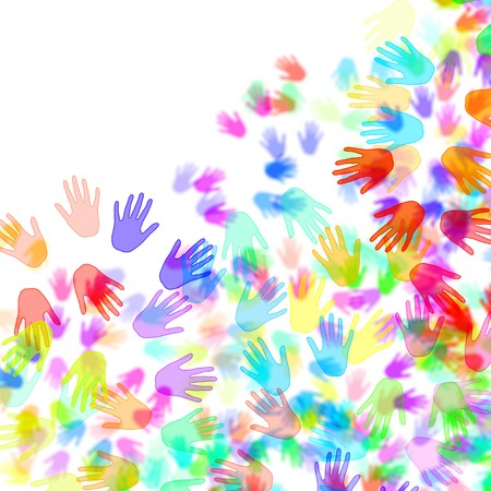 racial diversity: hands of different colors drawn on a white background