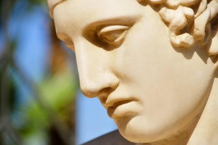escultura romana: portarretrato de una cara de una estatua cl�sica  Foto de archivo