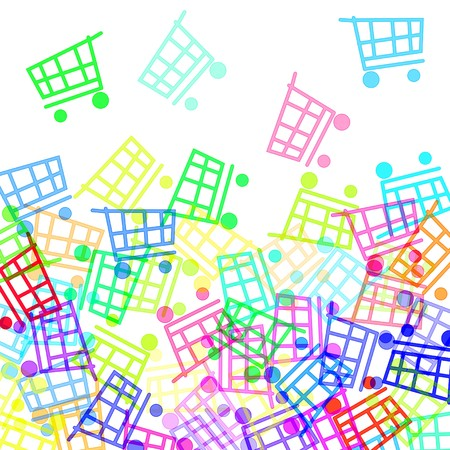 mall signs: shopping carts of different colors drawn on a white background