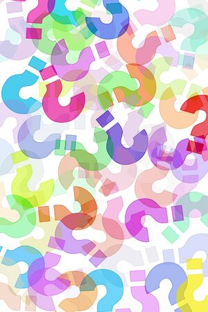 question marks of different colors drawn on a white background Stock Photo - 7664349