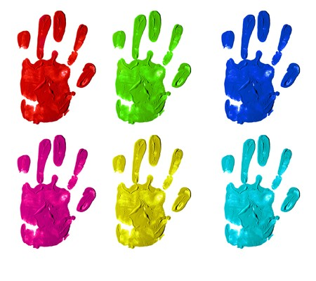 pink paint: several handprint of different colors isolated on a white background