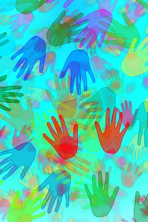 hands of different colors drawn on a blue background photo