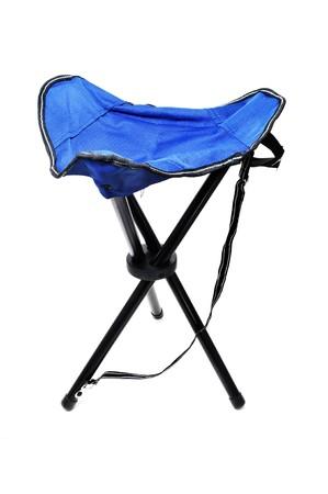a blue travel folding stool isolated on a white background photo