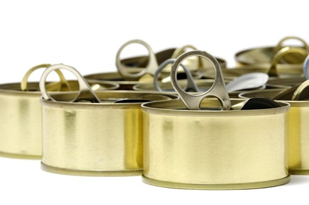 pulltab: a pile of empty cans isolated on a white background