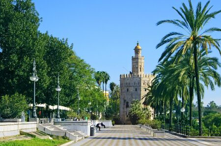 del: A view of the Torre del Oro, in Seville, Spain