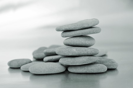 inukshuk: closeup of a pile of zen stones Stock Photo