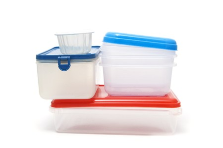 plastic box: some plastic containers isolated on a white background