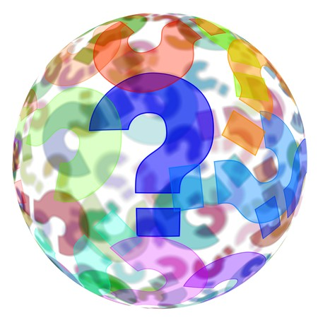 interrogative: an sphere with question marks of different colors on a white background Stock Photo