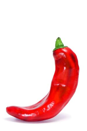 red chili pepper: a red chili pepper isolated on a white background Stock Photo