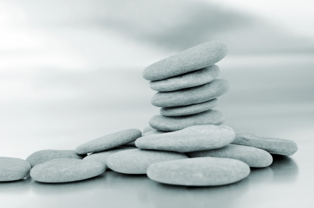 inukshuk: a pile of zen stones in black and white