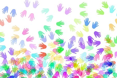hands of different colors drawn on a white background photo