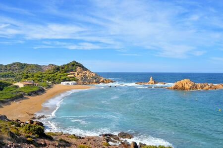 view of Cala Pregonda beach in Menorca, Balearic Islands, Spain Stock Photo