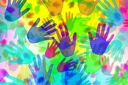 background with hands of different colors drawn photo