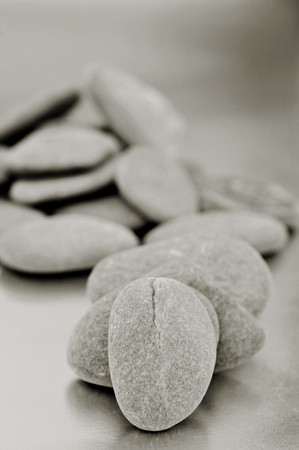 a pile of zen stones in black and white Stock Photo - 7835568